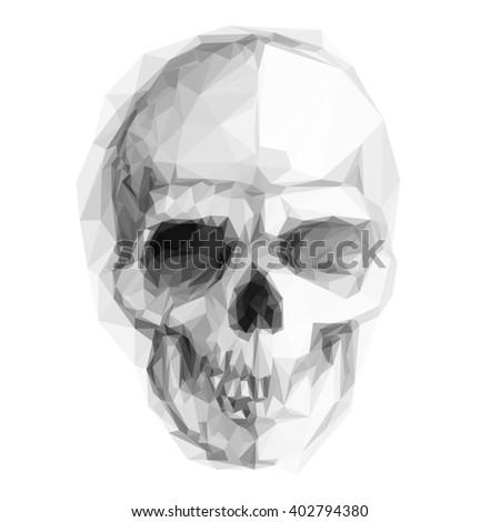 Raster version. Skull sketch isolated on white background for design - stock photo