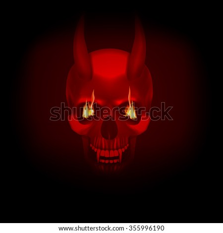 raster version skull vampire monster with fangs flames in eyes a dark red background. It can be used with any image on a black background, or separately. - stock photo