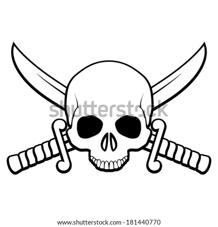 Raster version. Skull with crossed sabers. Illustration of pirate symbol in black-and-white - stock photo