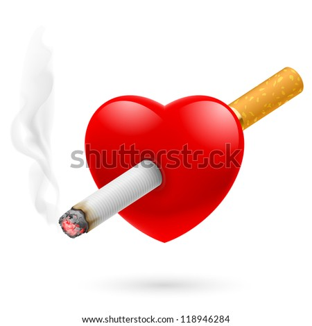 Raster version. Smoking kill. Illustration of red heart impaled by cigarette. - stock photo