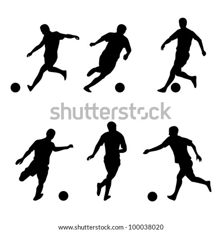 Raster version. Soccer, football players silhouettes. Illustration on white background