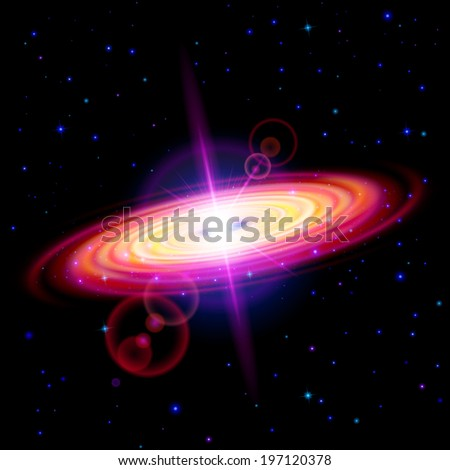 Raster version. Space background. Red galaxy with bright flare among stars in dark universe - stock photo