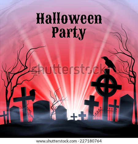 Raster version. Spooky graveyard on the Halloween Night, Halloween Party poster in black, red and white  - stock photo