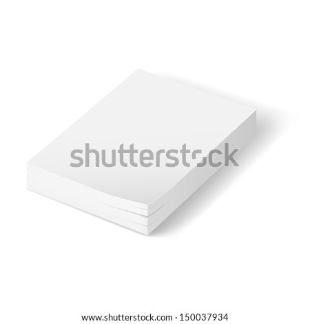 Raster version. Stack of blank paper.  Illustration on white background