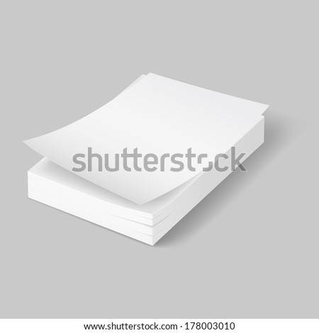Raster version. Stack of blank papers with first bent sheet on grey background. - stock photo