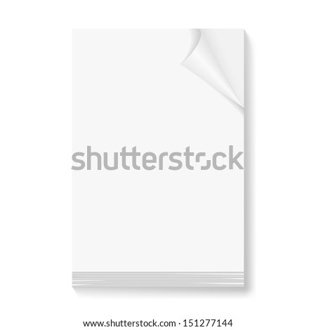 Raster version. Stack of blank papers with fold corner on front page on white background.