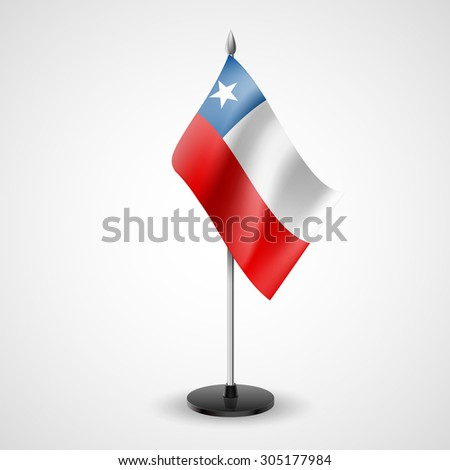 Raster version. State table flag of Chile. National symbol - stock photo