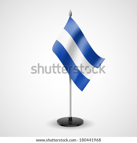 Raster version. State table flag of El Salvador. National symbol   - stock photo