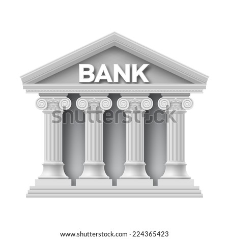 Raster version. Stone building of bank with four columns