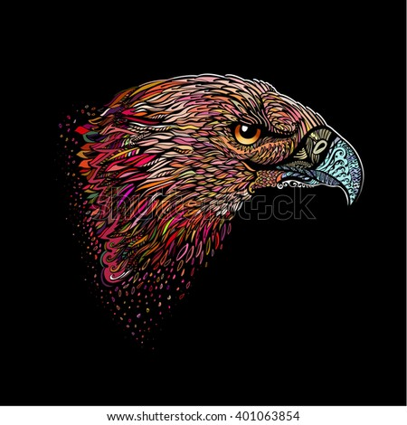 Raster version. Stylized Head of Eagle. Hand Drawn Doodle Illustration in Color on Black - stock photo