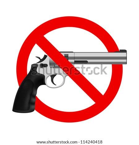 Raster version. Symbol No Gun. Illustration on white background - stock photo