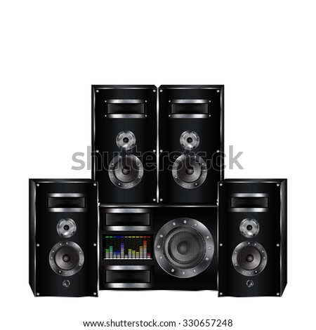 raster version system is sound, music speakers with subwoofer, and the sound level scale. Isolated object, each element is made separately and can be moved as necessary. - stock photo