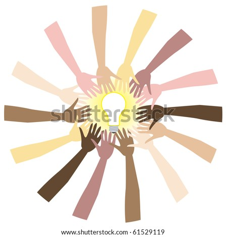 Raster version teamwork can bring great ideas. Illustration showing diversity and teamwork. - stock photo