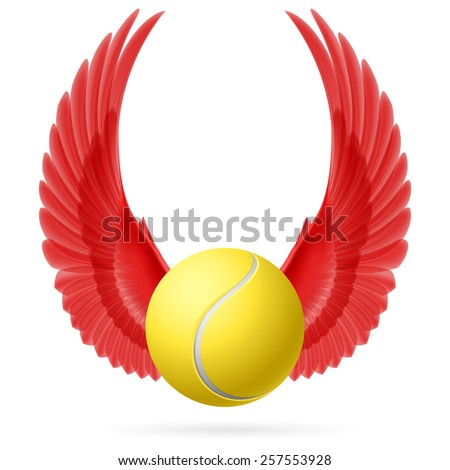 Raster version. Tennis ball with raised up red wings emblem - stock photo