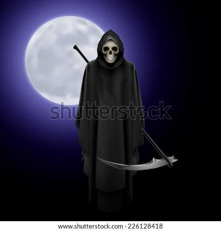 Raster version. Terrifying Grim Reaper over full moon background  - stock photo