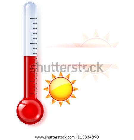 Raster version. Thermometer by seasons. Summer. Illustration on white - stock photo
