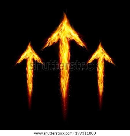 Raster version. Three fire arrows directed upward. Illustration on black background - stock photo