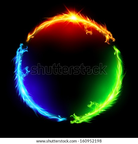 Raster version. Three fire dragons making colorful circle on black background.  - stock photo