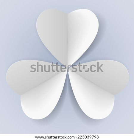 Raster version. Three paper hearts in form of trefoil  - stock photo