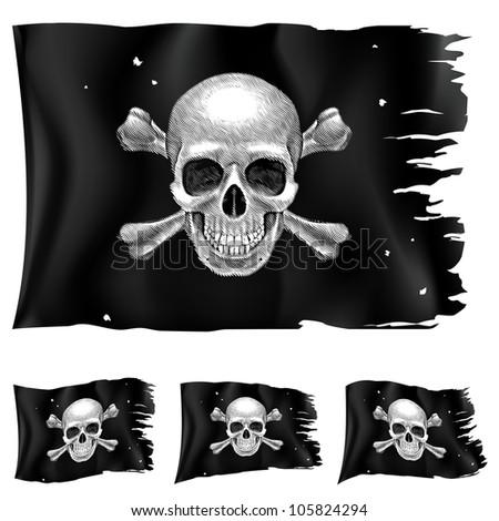 Raster version. Three types of pirate flag. Illustration for design on white background - stock photo