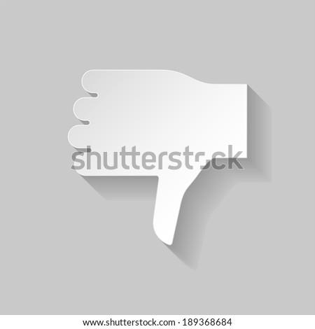 Raster version. Thumbs down sign in paper style on grey background - stock photo