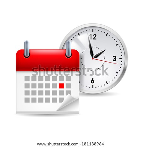 Raster version. Time icon with calendar and clock behind it  - stock photo