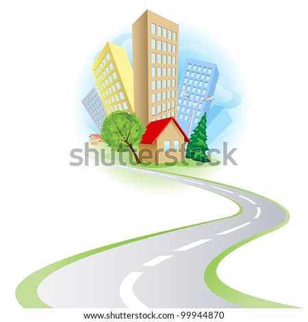 Raster version. Townhouses, cottages and the road. Illustration on white background - stock photo