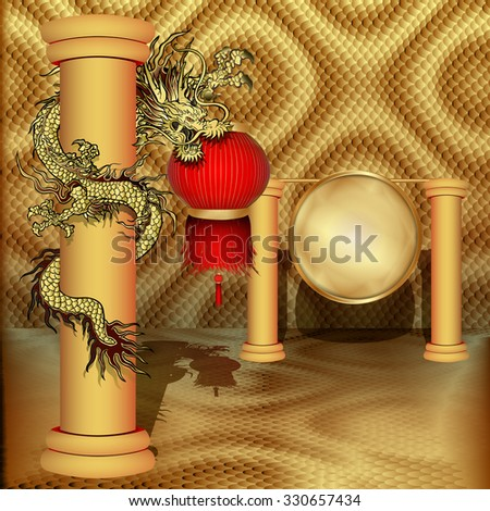 raster version Traditional Chinese dragon with Chinese lanterns in the leg on the pillar and a gold disc on a gold gong volume background.It can be used as a poster, advertising with any text - stock photo