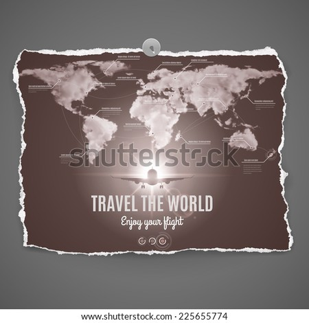 Raster version. Travel the world design on peace of old photo paper with continets,ocean,plane and text-Enjoy your flight - over grey background  - stock photo