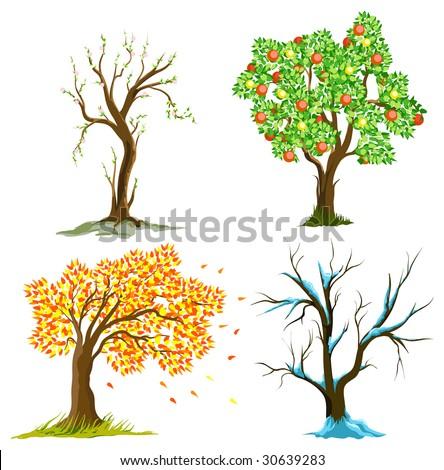 Raster Version. Trees in seasons - stock photo