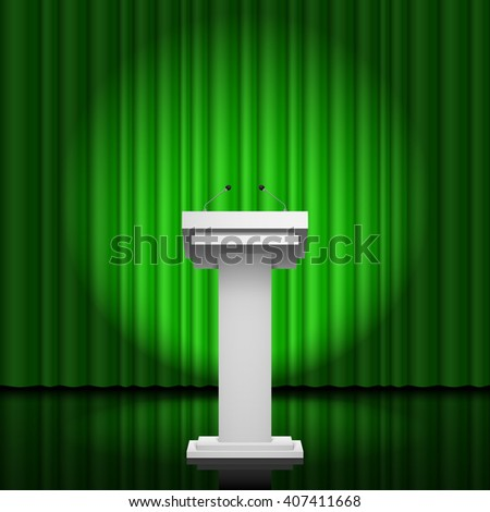 Raster version. Tribune for the performance of speech on a green background - stock photo