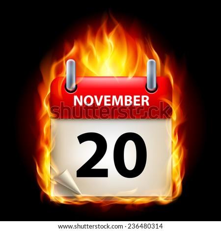 Raster version. Twentieth November in Calendar. Burning Icon on black background  - stock photo