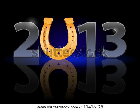 Raster version. Twenty Thirteen Year. Horseshoe. Illustration on black background - stock photo