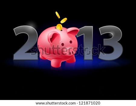 Raster version. Twenty Thirteen Year. Piggy bank with coins. Illustration on black background - stock photo