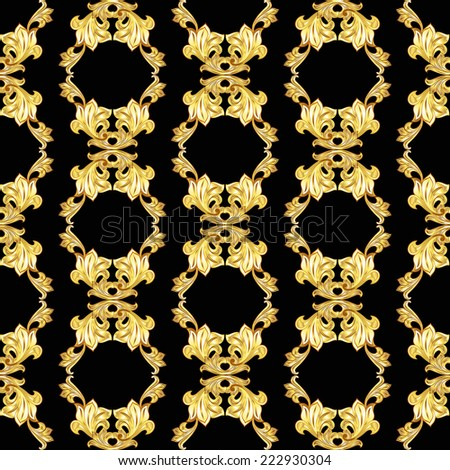 Raster version. Vertical seamless gold floral pattern on black background  - stock photo
