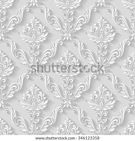 Raster version. Vintage abstract  floral foliage pattern background seamless