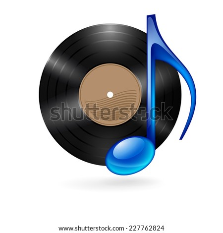 Raster version. Vinyl disc with blue musical note as music icon.  - stock photo