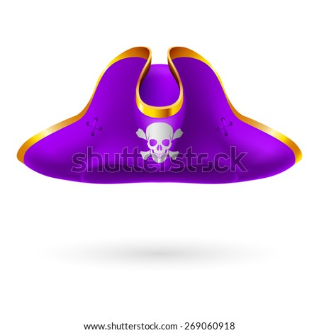 Raster version. Violet cocked hat with pirate symbol of skull and crossed bones  - stock photo