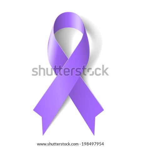 Raster version. Violet ribbon as symbol of Hodgkin Disease awareness - stock photo