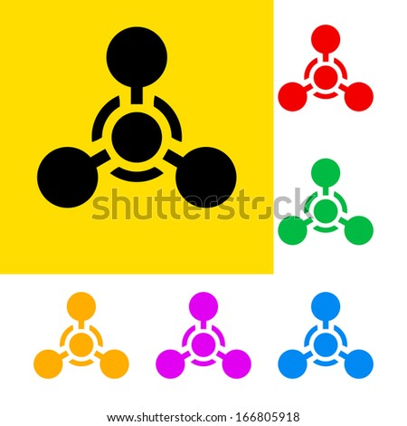 Raster version. Warning sign of chemical weapon with color variations.   - stock photo