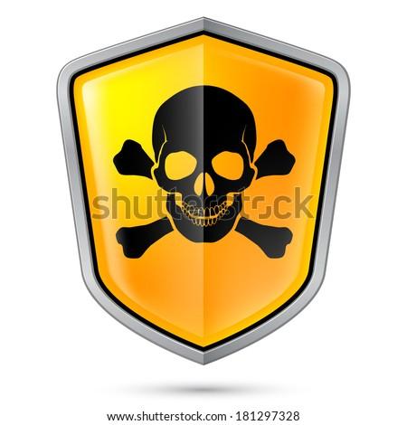 Raster version. Warning sign on shield, indicating of Skull symbol. Illustration on white - stock photo