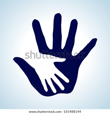 Raster version. White and blue  illustration of hand in hand. Concept of help, assistance and cooperation.