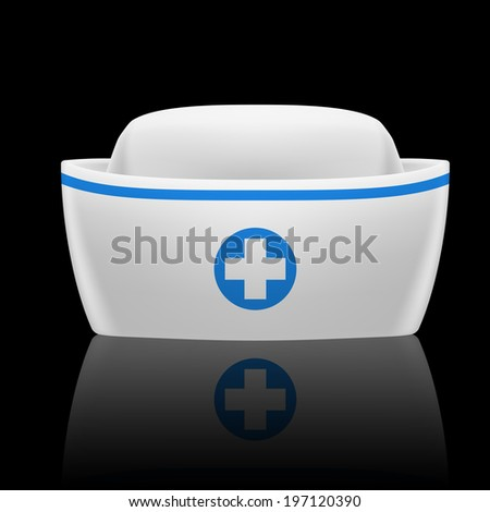 Raster version. White and blue nurse cap with reflection on black background  - stock photo