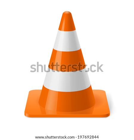 Raster version. White and orange road cone. Safety sign used to prevent accidents during road construction - stock photo