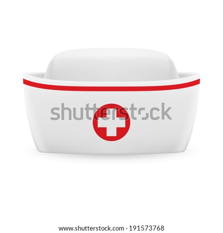 Raster version. White and red nurse cap with on white background  - stock photo