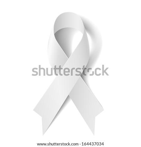 Raster version. White awareness ribbon isolated on white background. - stock photo