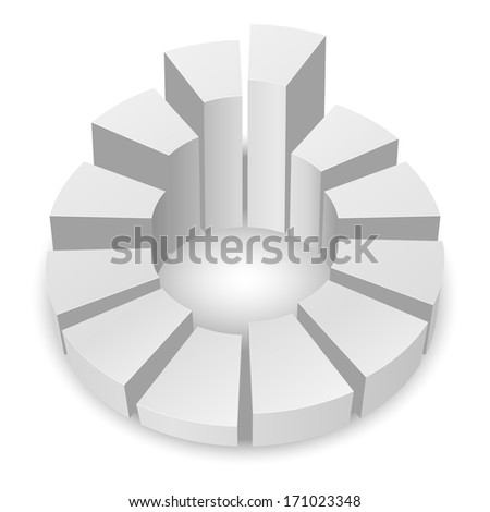 Raster version. White circular diagram with columns isolated on white background. - stock photo