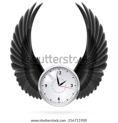 Raster version. White clock with black wings. Swing. Fly. - stock photo
