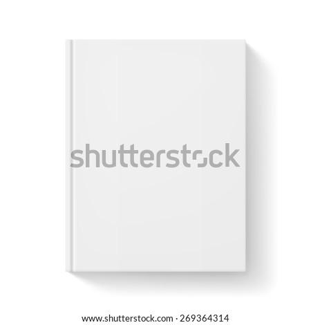 Raster version. White closed book. Illustration on white for design - stock photo