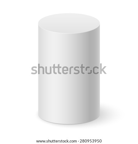 Raster version. White cylinder isolated on white background for design  - stock photo